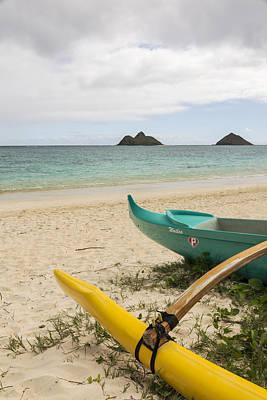 Lanikai Beach Outrigger 2 - Oahu Hawaii Poster by Brian Harig