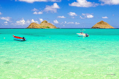 Poster featuring the photograph Lanikai Beach Two Boats And Two Mokes by Aloha Art