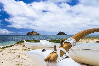 Lanikai Outrigger 1 Poster by Leigh Anne Meeks