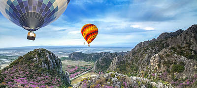 Lanscape Of Mountain And Balloon Poster