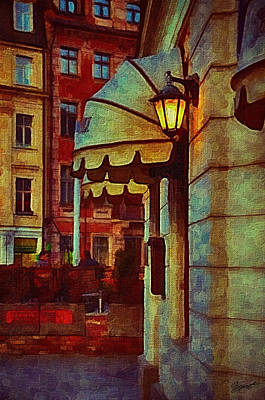 Lantern At The Cafe Poster by Gynt