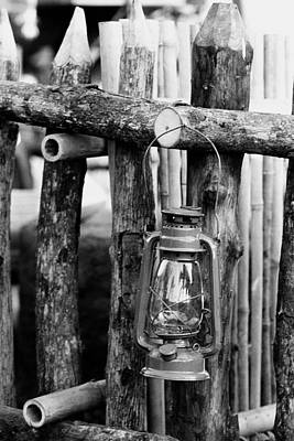 Lantern On Fence Poster by Jagdish Agarwal