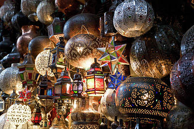 Lanterns For Sale In The Souk Poster by Peter Adams
