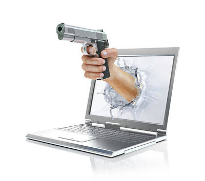 Laptop With Hand And Gun Poster