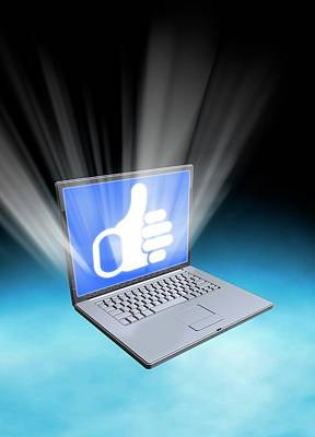 Laptop With Thumbs Up Icon Poster by Victor Habbick Visions
