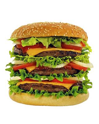 Large Beef Burger With Cheese And Salad Poster