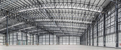 Large Modern Storehouse With Some Goods Poster