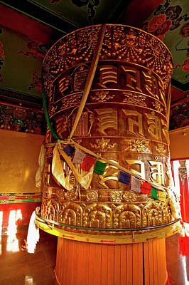 Large Prayer Wheel In A Buddhist Poster