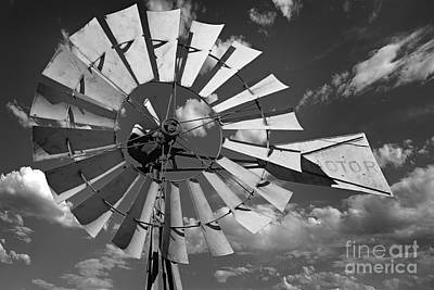 Large Windmill In Black And White Poster