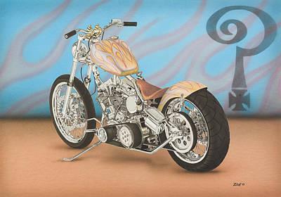 Indian Larry Flamed Custom Poster by Mark Zelenkovich