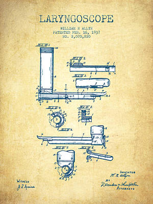 Laryngoscope Patent From 1937  - Vintage Paper Poster