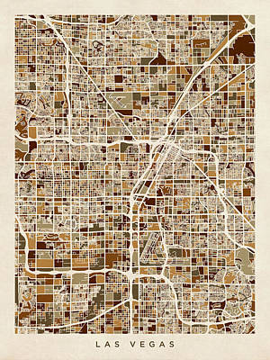 Las Vegas City Street Map Poster by Michael Tompsett
