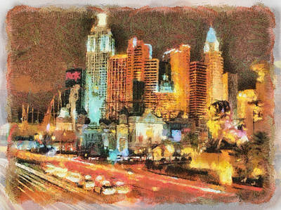 Poster featuring the painting Las Vegas by Georgi Dimitrov