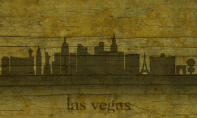 Las Vegas Nevada City Skyline Silhouette Distressed On Worn Peeling Wood Poster