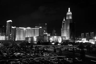 Las Vegas Skyline Bw Poster