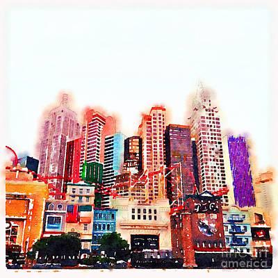Las Vegas Watercolour Poster by Jane Rix