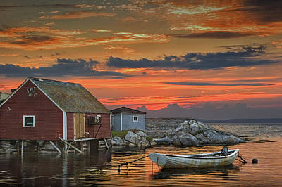 Last Light At Peggy's Cove In Nova Scotia Poster by Randall Nyhof