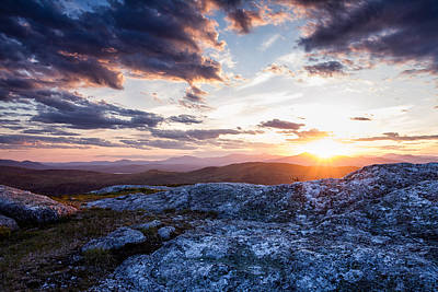 Last Rays. Sunset On Foss Mountain. Poster