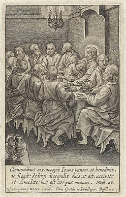 Last Supper, Christ And His Disciples Around A Table Poster