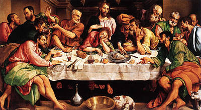 Poster featuring the digital art Last Supper by Jacopo Bassano