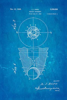 Laszlo Biro Ballpoint Pen Patent Art 1945 Blueprint Poster by Ian Monk