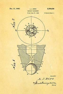 Laszlo Biro Ballpoint Pen Patent Art 1945 Poster by Ian Monk
