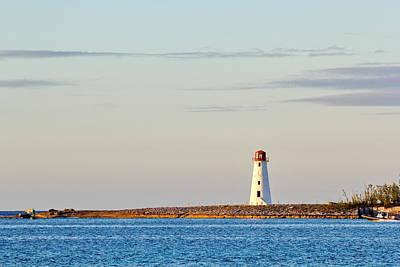 Late Afternoon At Hog Island Lighthouse On Paradise Island Baha Poster