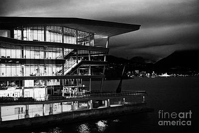 late evening at the Vancouver convention centre west building on burrard inlet BC Canada Poster by Joe Fox