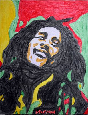 Poster featuring the painting Happy Bob Marley  by Stormm Bradshaw