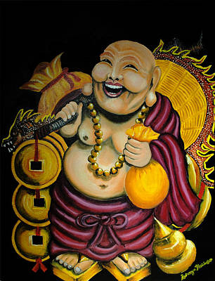 Poster featuring the painting Laughing Buddha For Prosperity by Saranya Haridasan
