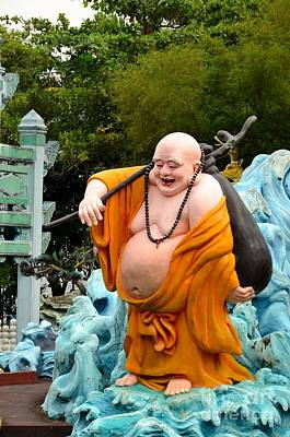 Laughing Buddhist Monk On Journey Poster by Imran Ahmed