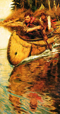 Launching A Canoe Poster by Philip R Goodwin