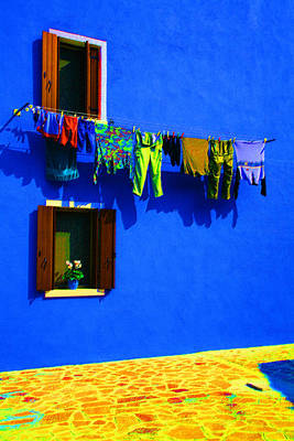 Laundry Between The Windows Poster by Donna Corless