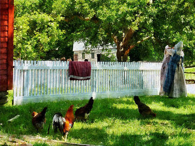 Laundry Hanging On Fence Poster by Susan Savad
