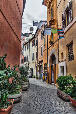 Laundry In Trastevere District Of Rome Poster