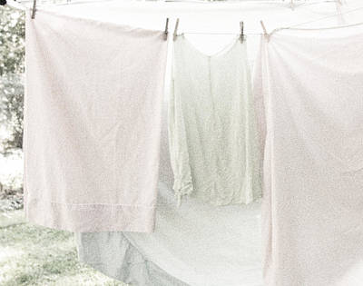 Laundry On The Line In Pink And Green Poster