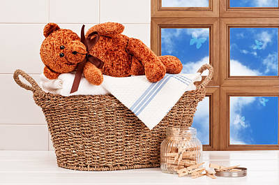 Laundry With Teddy Poster by Amanda Elwell