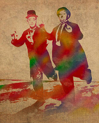 Laurel And Hardy Classic Comedians Watercolor Portrait On Worn Distressed Canvas Poster