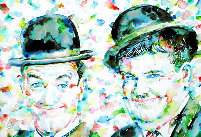 Laurel And Hardy Watercolor Portrait Poster by Fabrizio Cassetta