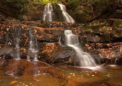 Laurel Falls In Great Smoky Mountains National Park In Autumn Poster by Dan Sproul
