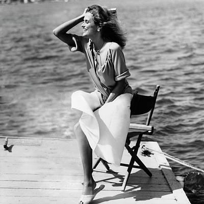 Lauren Hutton Wearing A Top And Poplin Skirt Poster by Albert Watson
