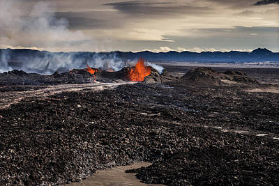 Lava And Plumes From The Holuhraun Poster
