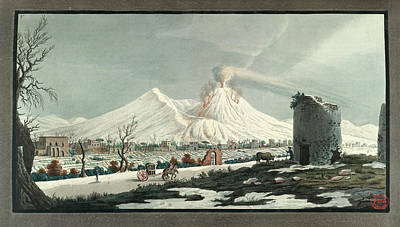 Lava Erupting From Mt. Vesuvius Poster by British Library