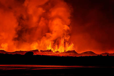 Lava Fountains At Night, Eruption Poster