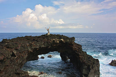 Lava Sea Arch In Hawaii Poster by Venetia Featherstone-Witty