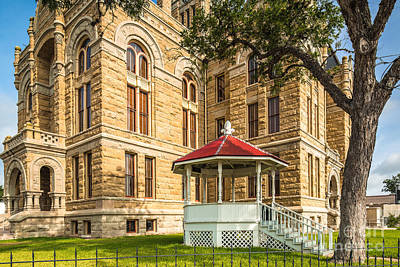 Lavaca County Courthouse II - Hallettsville Texas Poster by Silvio Ligutti