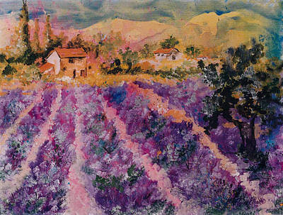 Lavender Fields In Provence Poster by Elaine Elliott