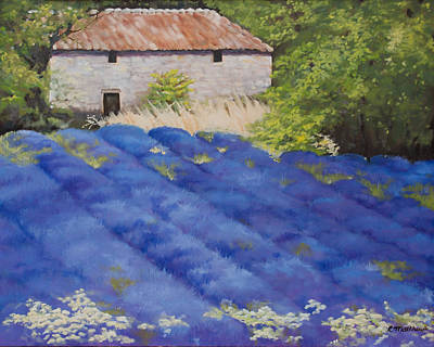 Poster featuring the painting Lavender Fields by Rebecca Matthews