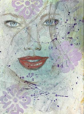 Lavender In Red Lipstick Poster by P J Lewis