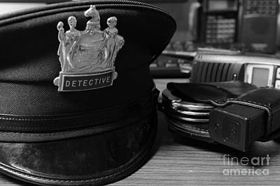 Law Enforcement - The Detective In Black And White Poster by Paul Ward